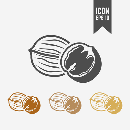 Walnut isolated vector icon, dried fruit icon or sign Ilustração