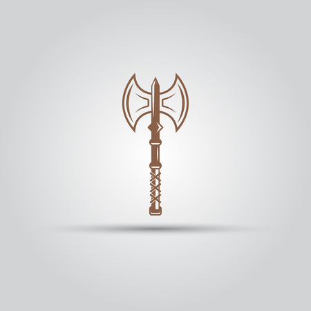 Viking double sided axe isolated vector icon, design element Иллюстрация