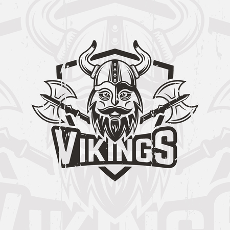 Viking warrior with a horned helmet and a beard sport team vector emblem, logo, label, viking face and two battle axe print for t-shirt Illusztráció