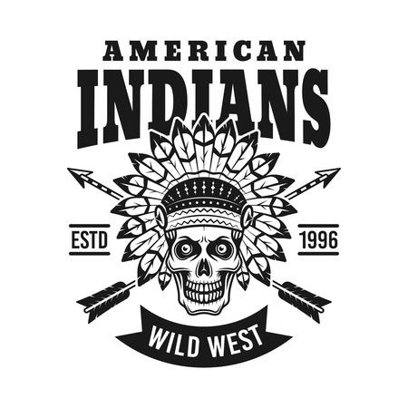 American indians vector emblem with chief skull and two arrows in vintage monochrome style isolated on white background