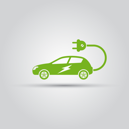 Electric car with electric plug isolated vector green icon Vector Illustratie