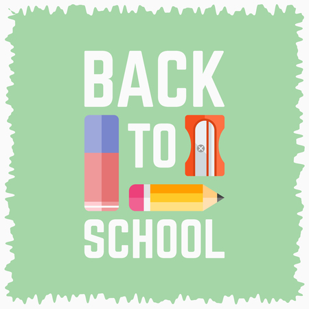 Back to school poster with text and vector flat elements on bright background