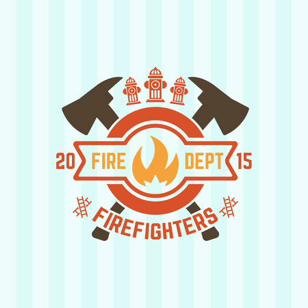 Fire department colored vector label, flame in a circle and two crossed axes