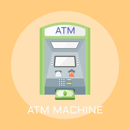 ATM machine flat design style colored vector illustration