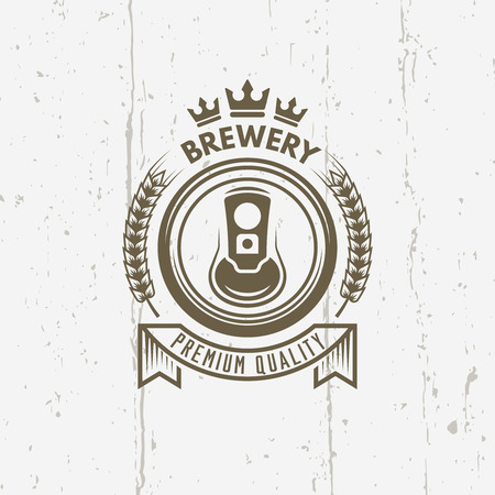 Brewery isolated vector vintage label on background with grunge texture, beer can top view, ribbon with text, branch wheat and crown