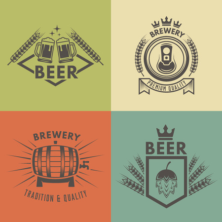 Set of vintage beer and brewery isolated vector monochrome labels, badges and emblems