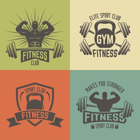 Set of vintage fitness sport club vector lebels, emblems, badges