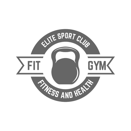 Fitness sport club isolated vector monochrome label on white background, silhouette of kettlebell in the circle