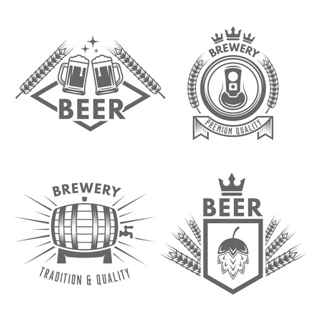 Set of beer and brewery isolated vector monochrome labels, badges and emblems on white background Illusztráció