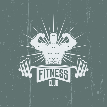 Bodybuilder and barbell isolated vintage bright vector label on background with grunge effects