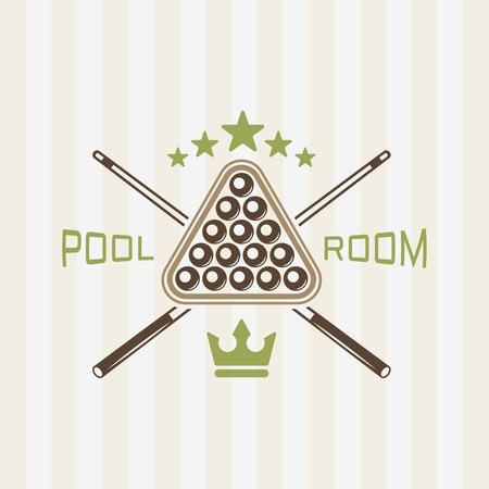 Pool room or billiard club colored vector emblem