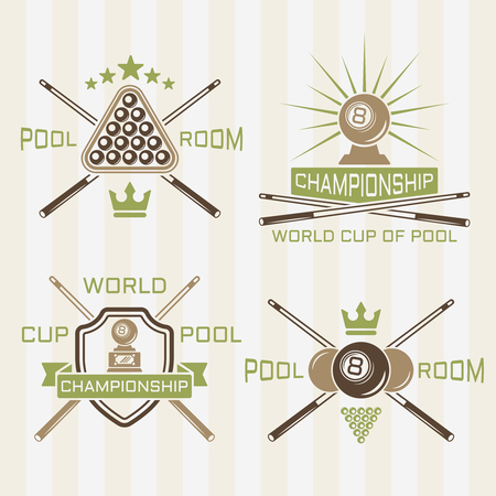 Set of pool room or billiards club vector colored labels