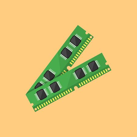 Memoria RAM stile design piatto illustrazione vettoriale su sfondo arancione