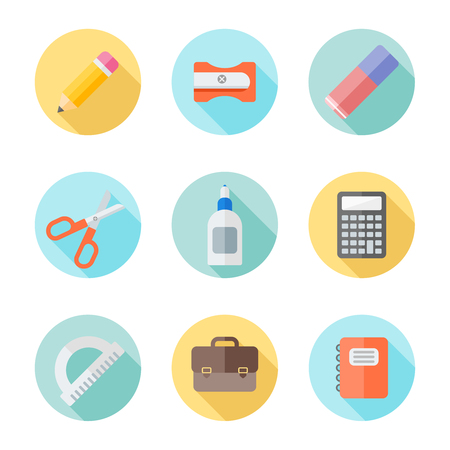 Set of school supplies flat round icons with long shadow on white background