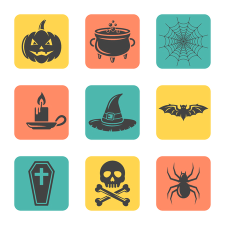 Set of halloween isolated vector flat design square icons, halloween colored signs, design elements