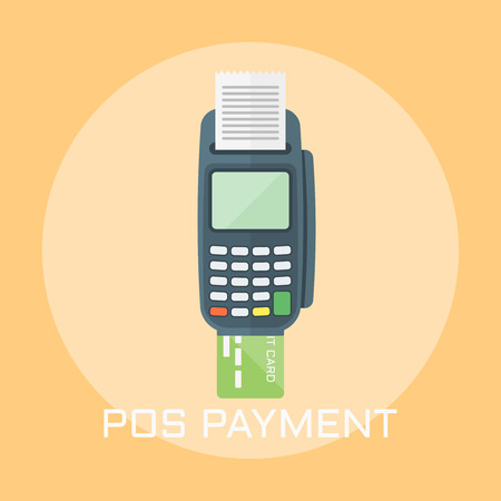 Pos terminal payment flat design style vector illustration Ilustrace
