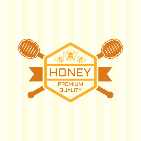 Honey premium product isolated vector colored label, badge or design element