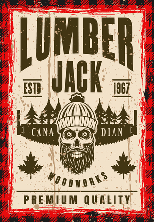 Bearded skull of lumberjack in knitted beanie and two hand saw vector poster in vintage style. Layered, separate grunge texture and text