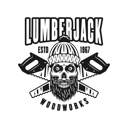 Lumberman skull with knitted hat and beard vector emblem in vintage monochrome style isolated on white background
