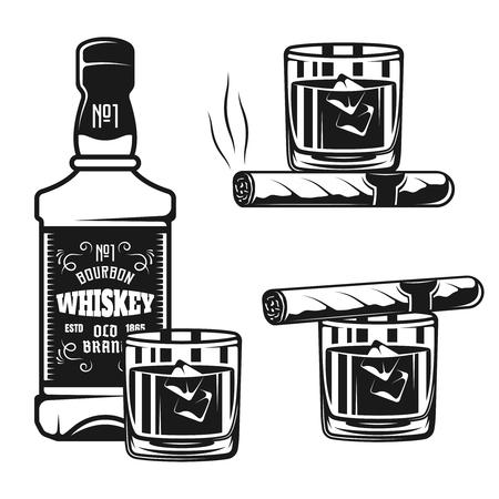 Butelka whisky ze szklanymi i cygarowymi wektorami czarnymi przedmiotami lub elementami projektu na białym tle