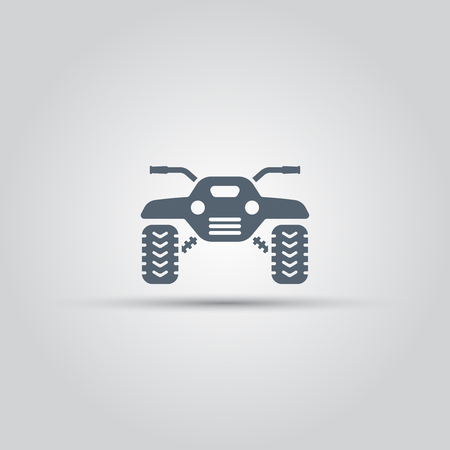 ATV front view isolated vector icon, off-road motorcycles sign