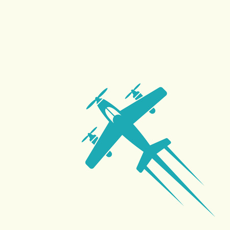 Airplane isolated vector colored icon or sign