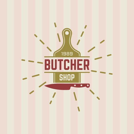 Butcher shop vector vintage label, cutting board and kitchen knife emblem template