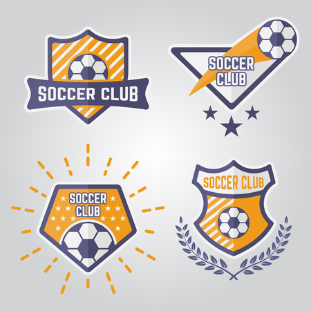 Set of soccer isolated vector emblems, football sport team logos part 1