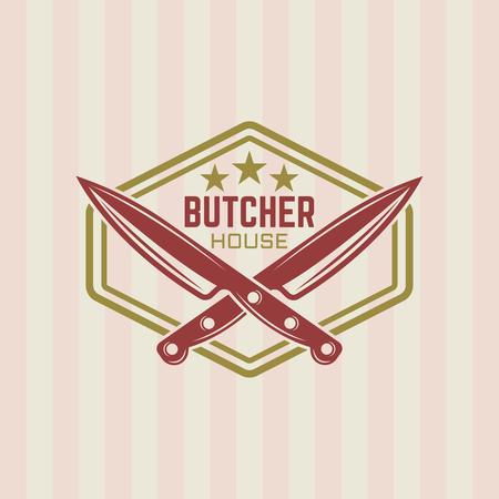 Étiquette vintage de vecteur de maison de boucher, deux couteaux à découper croisés et modèle d'emblème de cadre Vecteurs
