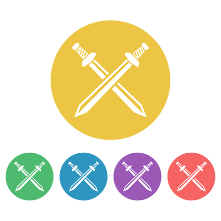 Swords set of vector colored round icons or signs