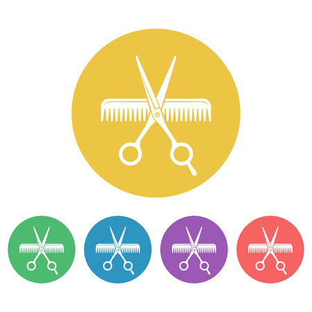 Scissors and comb set of vector colored round icons or signs