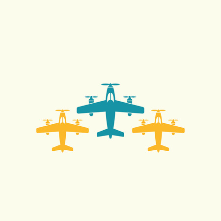Three airplane flying in a row top view isolated vector icon Иллюстрация