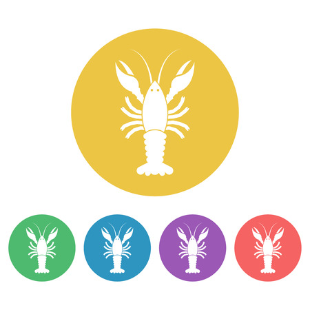 Crayfish set of vector colored round icons or signs