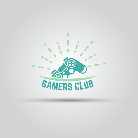 Gamers club label isolated vector colored template