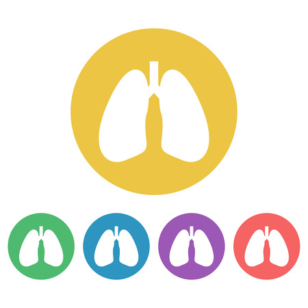 Lungs set of vector colored round icons or signs