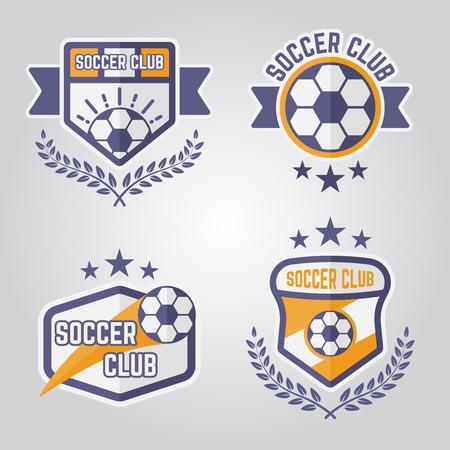 Set of soccer isolated vector emblems, football sport team logos part 3