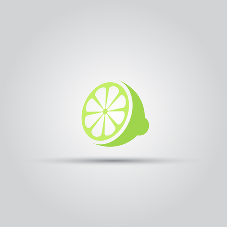 Sliced lime isolated vector colored icon or sign