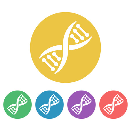 DNA set of vector colored round icons or signs