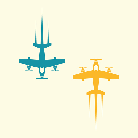 Two airplane are flying towards each other isolated vector objects