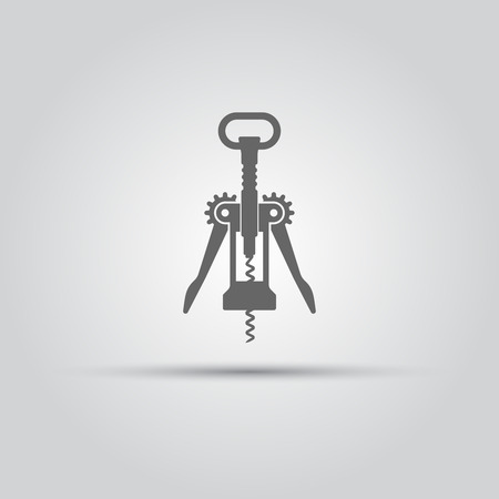 Corkscrew isolated vector black silhouette icon or sign