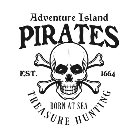 Pirate skull and crossed bones vector emblem in monochrome vintage style isolated on white background