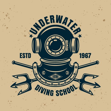 Underwater diving school vector emblem, label, badge or logo in vintage style isolated illustration