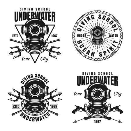 Underwater diving school set of vector emblems, badges or labels with diver vintage helmet isolated on white background