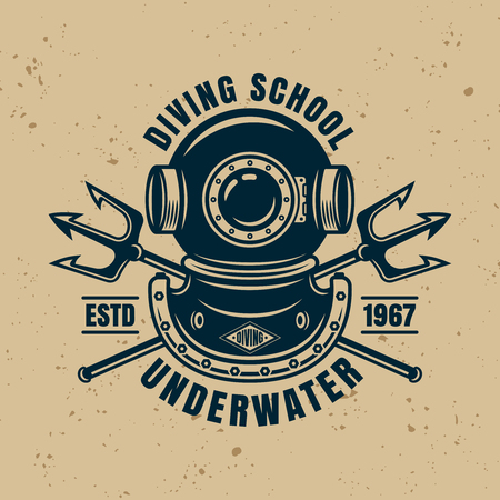 Diving protective vintage helmet and two crossed neptune trident vector isolated emblem, badge or logo
