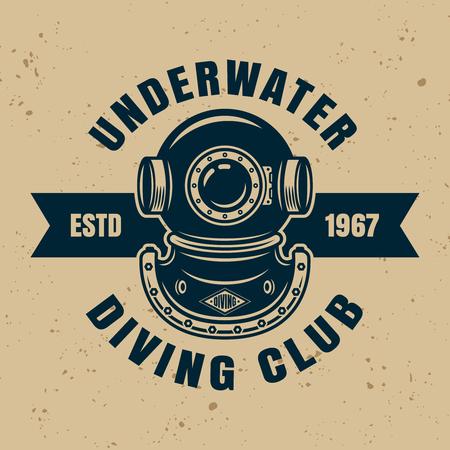 Unterwasser-Tauchclub-Vektor-Emblem, Abzeichen oder Etikett mit Beispieltext einzeln auf Hintergrund mit abnehmbaren Texturen