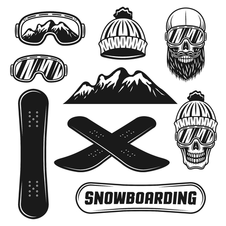 Snowboarding equipment set of vector objects or design elements in vintage monochrome style isolated on white background
