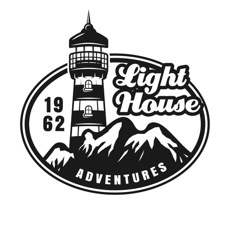 Lighthouse and mountains vintage emblem, label badge or logo vector monochrome illustration isolated on white background