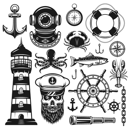 Nautical set of vector objects and design elements in vintage monochrome style isolated on white background Çizim