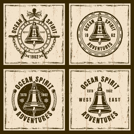 Ship bell set of four nautical vector brown vintage emblems, labels, badges or t shirt prints on background with grunge textures