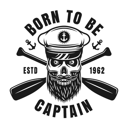 Captain skull vector nautical black emblem in vintage style isolated on white background